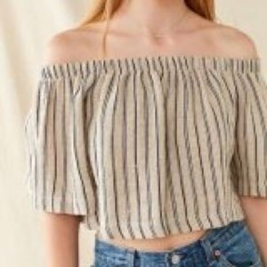 Off the shoulder woven striped top